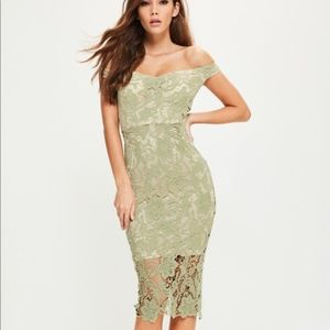 Missguided Green Lace Dress Off Shoulder Bardot, 8